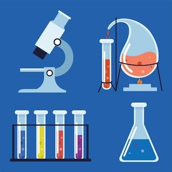 Laboratory chemical flask microscope set