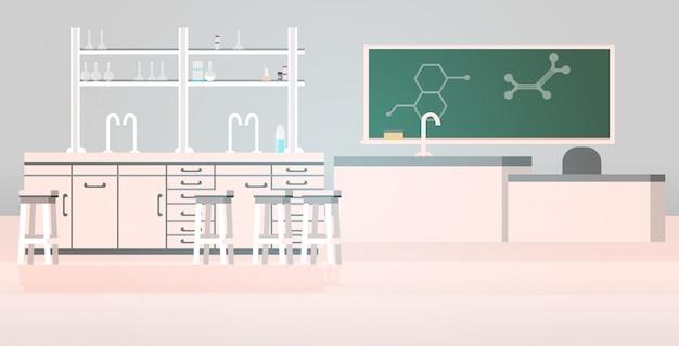 Лабораторный химикат в науке классная комната интерьер университетского колледжа пусто нет людей лаборатория с мебелью горизонтальный