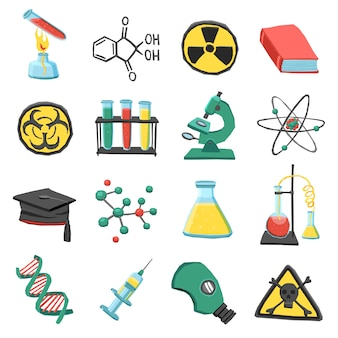 Set di icone di chimica di laboratorio