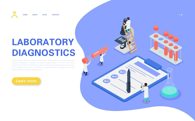 Laboratory diagnostic landing page. tiny people carry a test tube with blood, medical personnel study the tests and record the results.