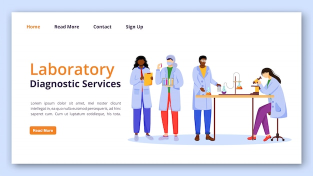 Laboratory diagnostic services landing page vector template. medical examination website with flat illustrations. website design