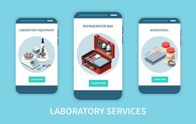 Laboratory diagnostics analysis service isometric set of vertical banners