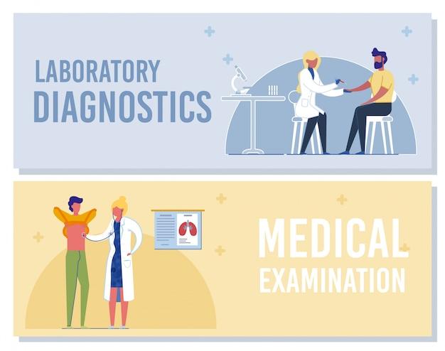 Лабораторная диагностика, баннер медицинского осмотра. медсестра берет образец крови у пациента. доктор исследует человека со стетоскопом. профессиональный лабораторный анализ. иллюстрация проверки здоровья
