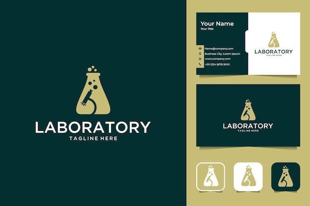 Лаборатория элегантный дизайн логотипа и визитной карточки