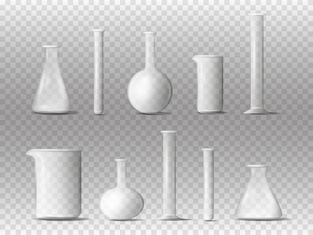 실험실 장비. 3d 현실적인 화학 실험실 측정 유리. 실험실 투명 화학 실험실 유리 비커 및 플라스크.