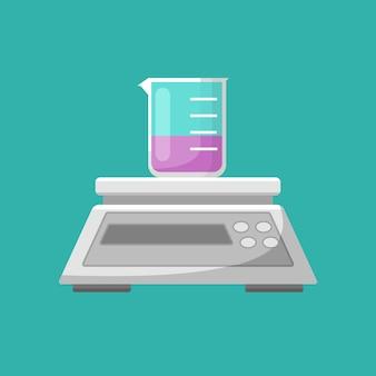 Laboratory equipment, balance and beaker vector