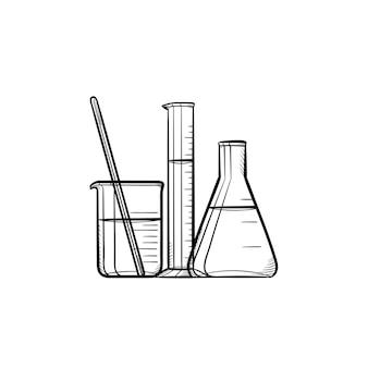 実験装置の手描きのアウトライン落書きアイコン。化学試験管とビーカー-白い背景で隔離の印刷物、モバイル、インフォグラフィックの実験装置ベクトルスケッチイラスト。