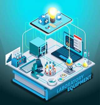 Laboratory equipment isometric composition