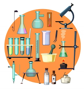 Laboratory equipment set illustration