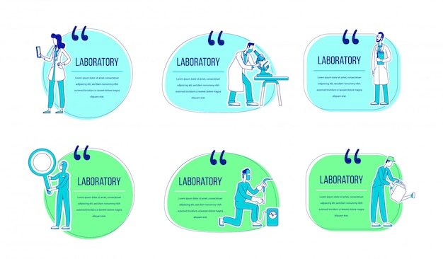 Laboratory flat silhouette character quotes set