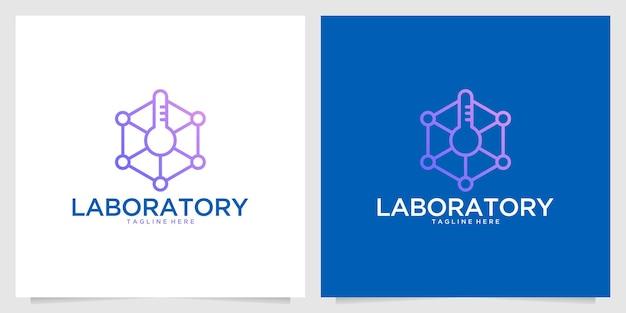 실험실 유전학 라인 아트 로고 디자인