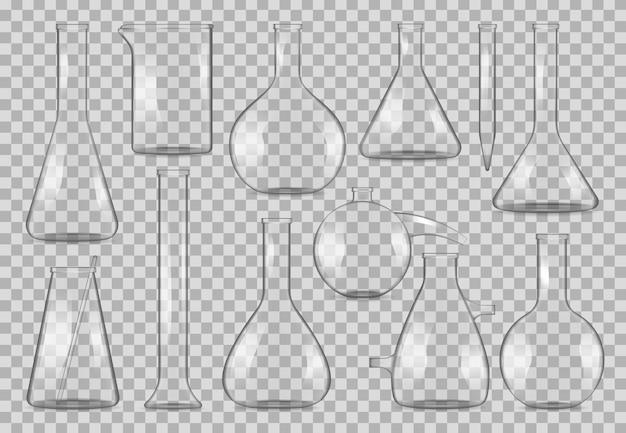 Лабораторные стеклянные мензурки и лабораторная посуда реалистичные