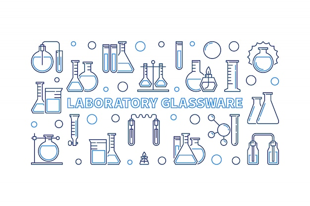Laboratory glassware blue outline horizontal icon illustration