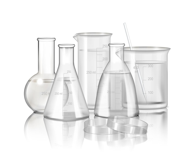 Laboratory glassware  monochrome composition  with  flasks and beakers on smooth reflective surface realistic illustration,
