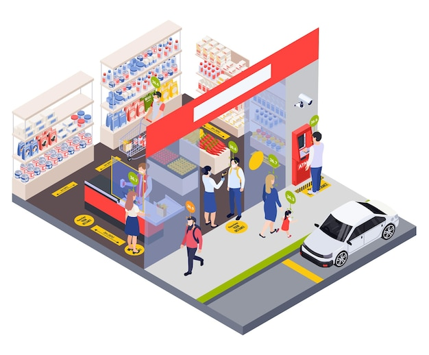 Laboratory medical testing isometric composition checking the visitor s temperature before entering illustration