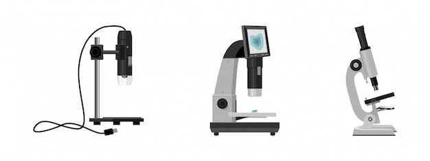 Laboratory microscope cartoon set icon.