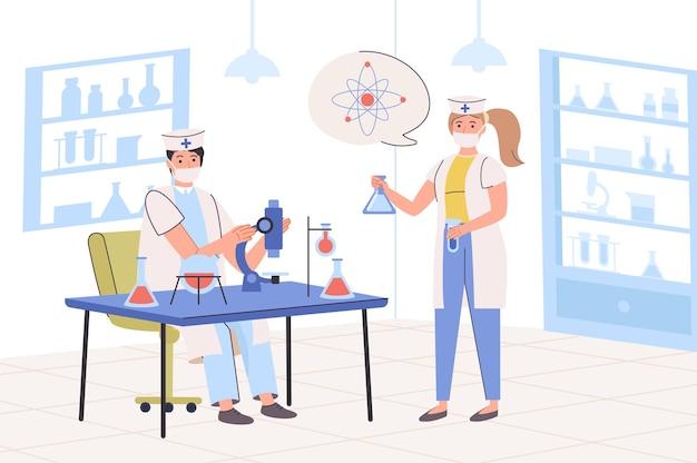 실험실 연구 개념 과학자들은 실험실에서 현미경과 플라스크로 과학적 테스트를 하고 있습니다.
