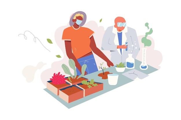 Лабораторные исследования генетической модификации иллюстрации