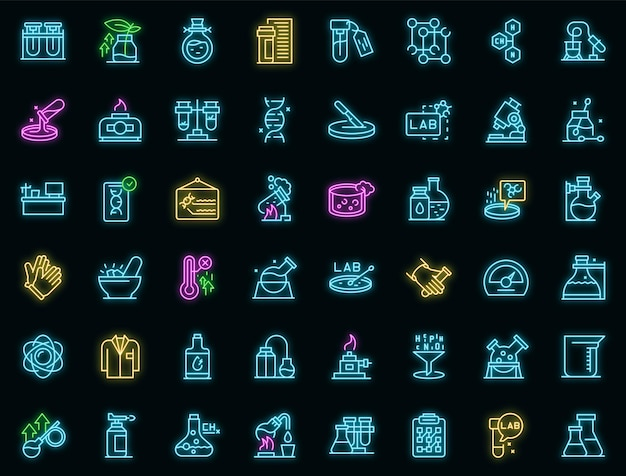 Набор иконок лабораторных исследований наброски вектор. наука о днк. химия микроскопа