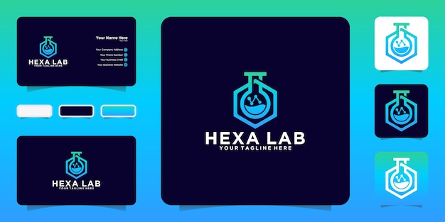 Laboratory research logo design inspiration with line style and business card inspiration
