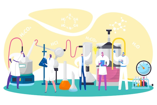 Laboratory research vector illustration scientist man woman character work in lab flat tiny medical ...