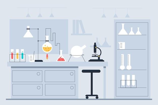 Плоский дизайн лабораторной комнаты