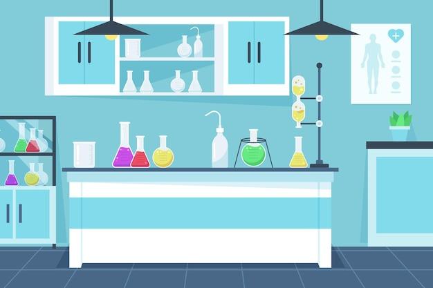 Laboratory room flat illustration