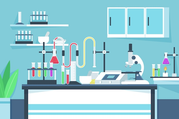 Laboratory room illustration flat