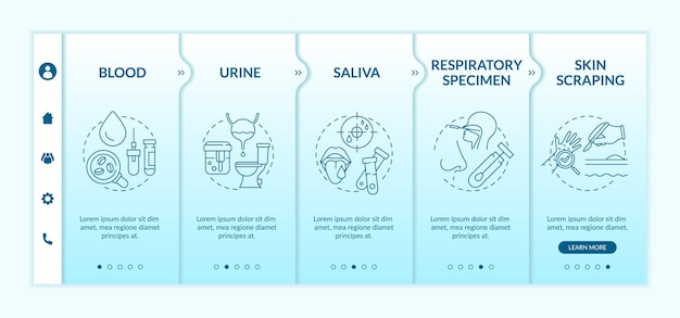 Laboratory samples onboarding  template. urinalysis testing. oral and nasal swab. blood test. responsive mobile website with icons. webpage walkthrough step screens. rgb color concept