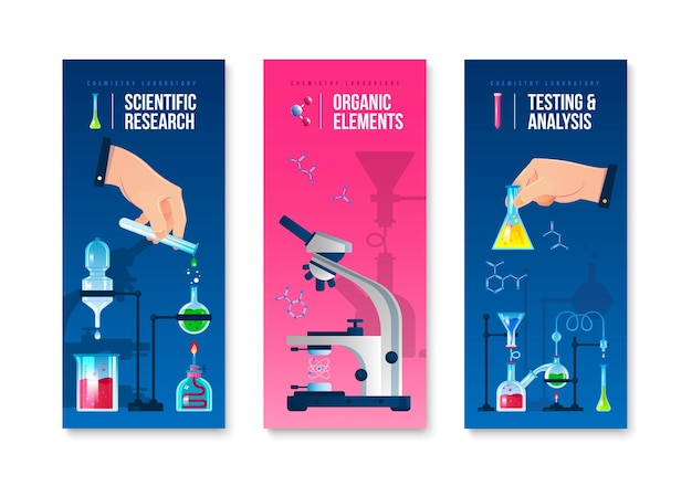 Set di banner verticali di ricerca scientifica di laboratorio