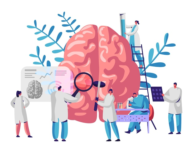 Laboratory scientist group study human brain and psychology. medical research microscope. head tomography. chemical experiment. diagnostics development hemisphere. flat cartoon vector illustration