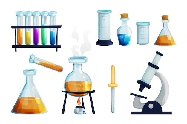 액체 비커 유리 스포이드가 있는 버너 테스트 튜브가 있는 유리 플라스크가 있는 실험실 세트