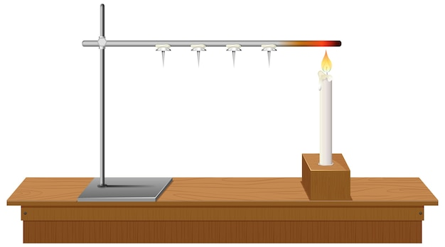 机の上の実験室スタンド白い背景