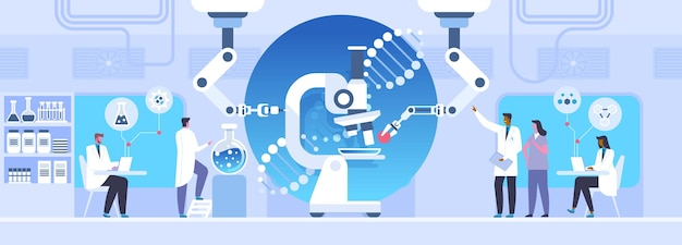 Laboratory study flat vector illustration. scientists doing research experiment cartoon characters. nanotechnology, microbiology science concept. medical innovation, genetic engineering