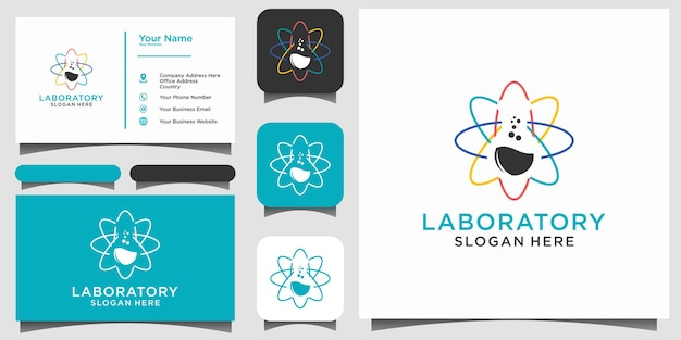 Laboratory technology test tube logo design with background template business card