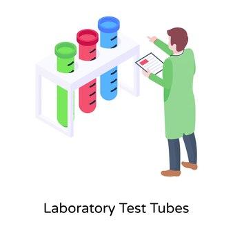 実験室の試験管の等角図
