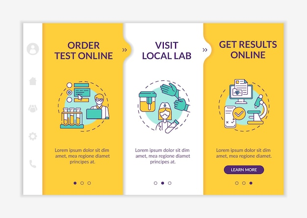 Laboratory testing ordering steps onboarding  template. online test order, getting results. responsive mobile website with icons. webpage walkthrough step screens. rgb color concept