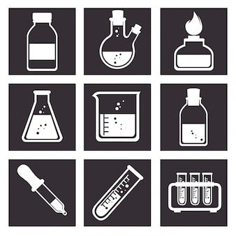 Laboratory tools tube icons design