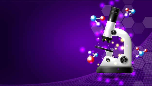 Laboratorio con microscopio realistico