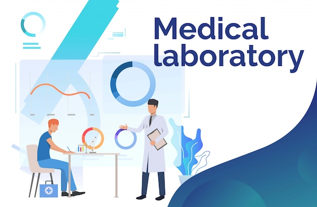 Laboratory workers working with medical data