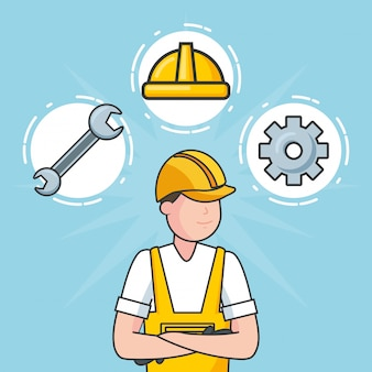 Laborer with construction objects, illustration