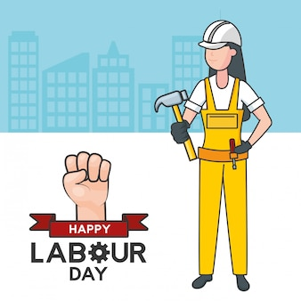 Laborer with a hammer, buildings, illustration