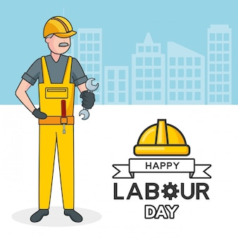 Laborer with a spanner, buildings, illustration