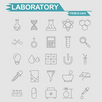 Labortory icons set