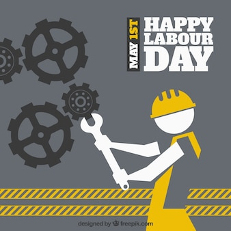 Labour day background with gears and worker