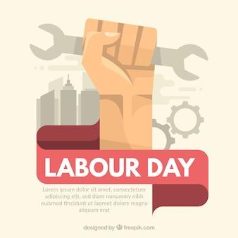 レンチを手にして労働日の背景