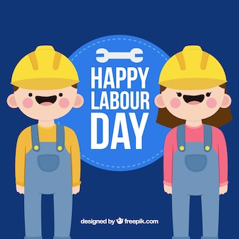 Labour day background with happy workers