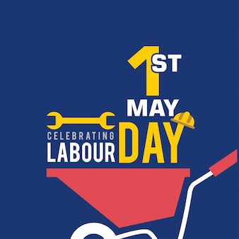 Labour day background with pushcart