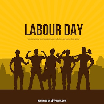 Labour day background with silhouettes people