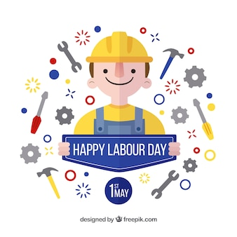 Labour day background with tools and nice character